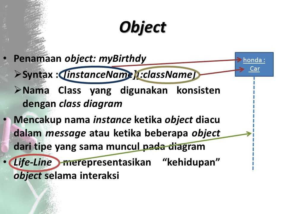 Object Penamaan object: myBirthdy Syntax : [instanceName][:className]